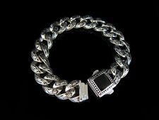 Classic Black Silver Rolo Chain Bracelet for Harley Davidson Outlaw Biker TB32