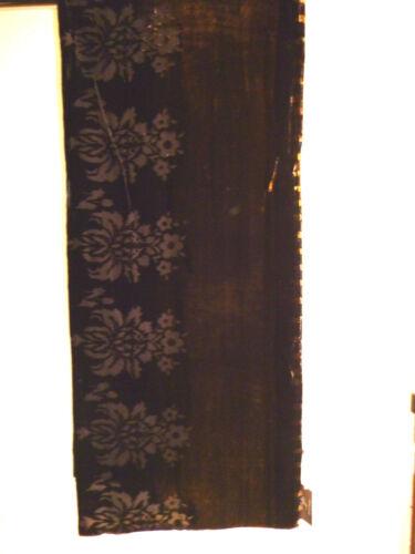 Velluto Devore Sciarpa//stola Velluto nero a fiori//Old Gold design Foderato Nuovo