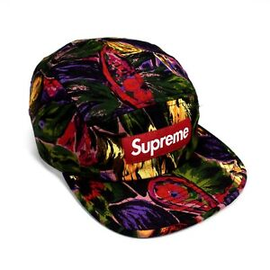 NWT Supreme NY Men s Red Box Logo Painted Floral Camp Cap Hat FW17 ... f971fd1e2fd