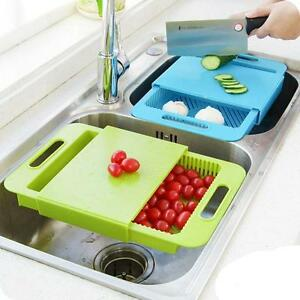 Details about Kitchen Sink Cutting Board Removable Chopping Blocks Drainage  Drain Basket