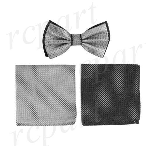 New Brand Q formal Men/'s Pre-tied Bow tie /& 2 hankie gray black checkers wedding