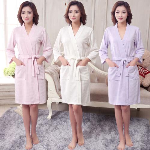 Men Women Cotton Waffle Bath Robe Suck Sweat Kimono Bathrobe Summer Nightgowns H
