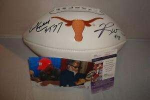 Ricky-Williams-amp-Earl-Campbell-signed-Texas-Longhorns-Logo-Football-JSA-Cert