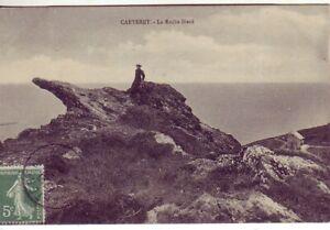 CPA-50-pres-Portbail-Barneville-CARTERET-Jeune-Femme-sur-la-Roche-BIARD-1909