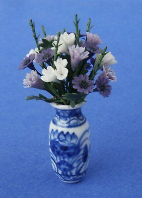 Miniature Dollhouse Purple Flowers in a Vase 1:12 Scale New