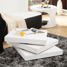 High Gloss Coffee Table 3 Layer Square Rotating Living Room Furniture Home