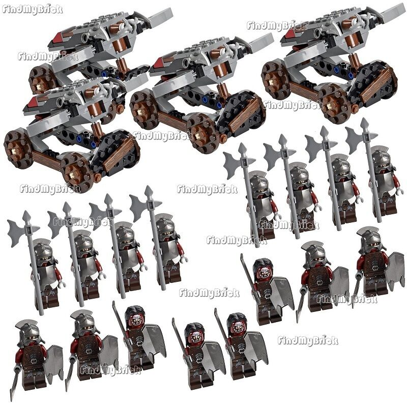 16x Lego Lord  of the sacues Uruk-hai Minifigs & 4 Hook Shooters No Box nouveau 9471  grosses économies