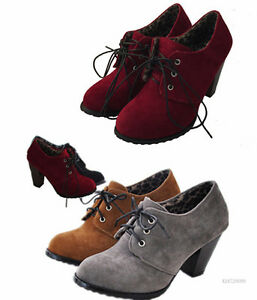 Hot Vintage Women's Thick High Heel Ankle Boots Shoes Lace ...