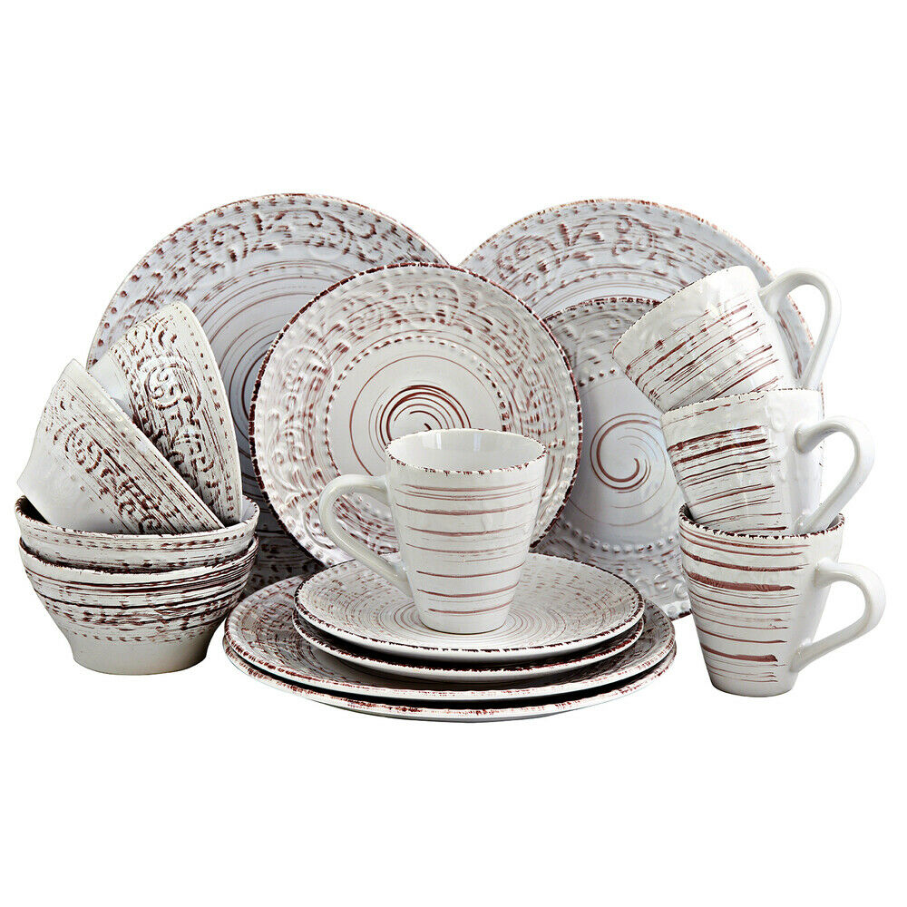 16 pc de sable en relief Stoneware Dinnerware Set Malibu Sands Coastal Set Plaques Mu