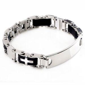 Bracelet-Gourmette-Homme-Acier-Inoxydable-Design-Couleur-Argent