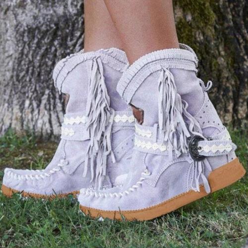 Women Fringe Middle Tassel Boots Buckle Motorcycle Flat Heel Ethnic Work Shoes