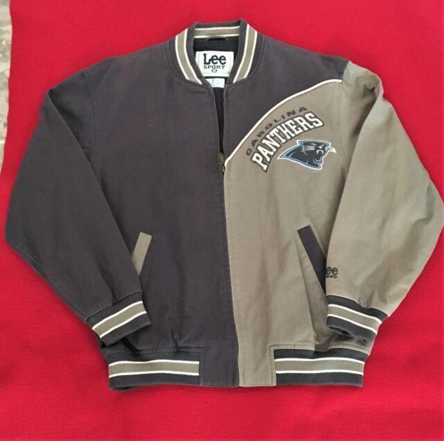 39118b8a0 Vintage Carolina Panthers Jacket denim two tone rare Size Medium NFL NWOT
