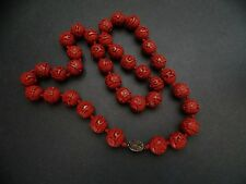 BEAUTIFUL VINTAGE CHINESE CINNABAR CARVED NECKLACE RED CINNABAR HAND KNOTTED
