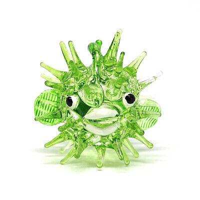 Tiny Glass Green Puffer Fish Figurine Home Decor Personalized Gift Aquarium Miniature Hand Blown Sculpture