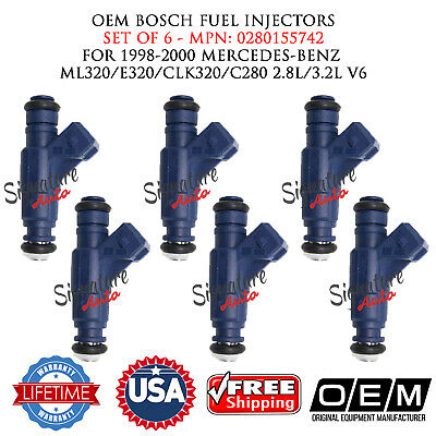 Rebuilt OEM Bosch Fuel Injectors 1999-2000 Mercedes-Benz ML320 3.2L V6-6Pcs