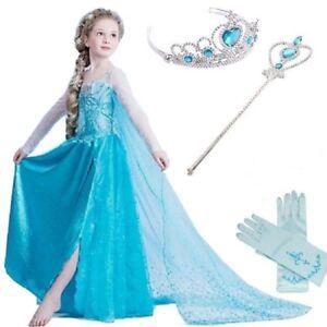 Frozen-Elsa-Vestido-CORONA-Varita-Guantes-Nina-Set-Azul-Fiesta-De-Disfraces-GIFT