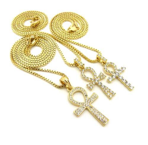 "Triple Ankh Cross Pendant 18/"",20/"",24/"",27/"",30/"" Box Chain 3 Necklace Set RC2086G"