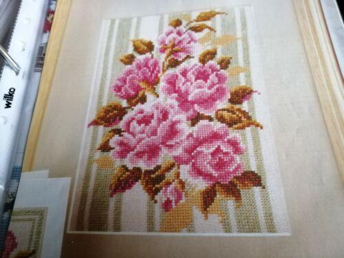 Gráfico de punto de cruz Sheila Hudson Gráfico Rosas Flores Floral Cuadros