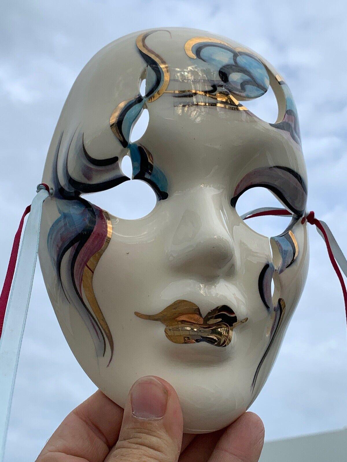 Vintage Gold BLING & LIPS Cirque De Soleil Mask Porcelain Wand Kunst 7 6  ️sj3j