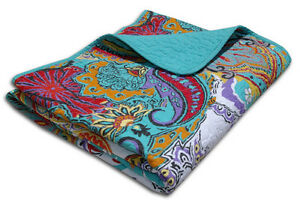 Reversible Paisley Turquoise Teal Cotton Quilted Throw