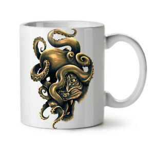 Octopus Tiger Face Animal NEW White Tea Coffee Mug 11 oz | Wellcoda