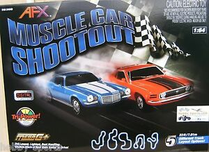 Afx Muscle Car Shootout Mustang Camaro Slot Car Race Set W Lap
