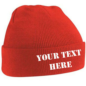 1a4ab1342eb Customised Beanie Adult Cuffed Woolly Knit Ski Hat with Name Slogan ...