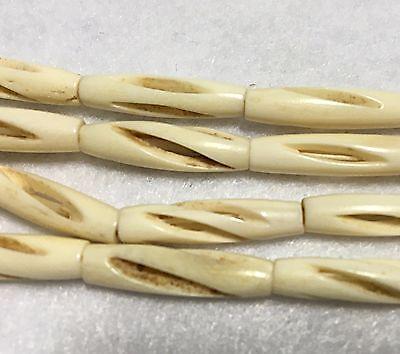 1 inch Antiqued Razer Cut Bone Hair-pipe Beads, Approx. 25 per strand