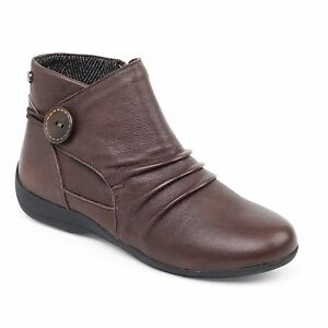 Padders-CARNABY-Ladies-Womens-Leather-Extra-Wide-Fit-Side-Zip-Ankle-Boots-Brown