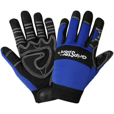 Gripster SG9001NF-XL Aireflex Synthetic Leather Over Blue Spandex Fingerless Sport Glove Black