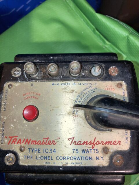 Lionel Type 1034 Trainmaster Transformer 75 Watts File 1133 for sale online