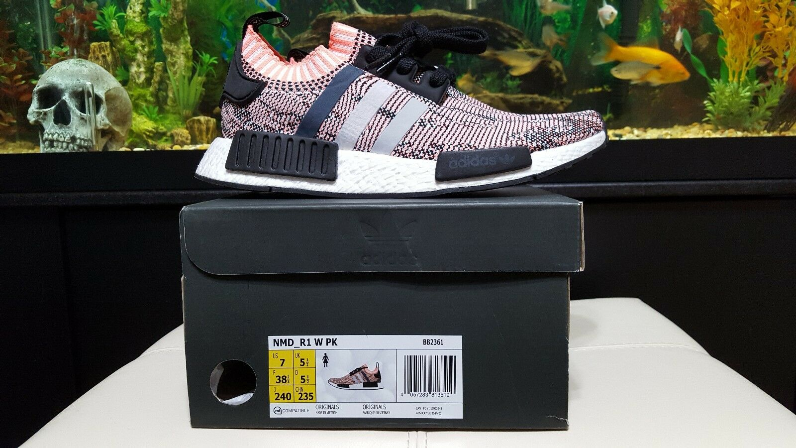 Adidas NMD R1 Primeknit TriColor Pink Salmon Glitch Womens Comfortable