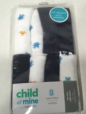 Baby Boys or Baby Girls Unisex Child of Mine by Carters White Washcloths 8-Pack