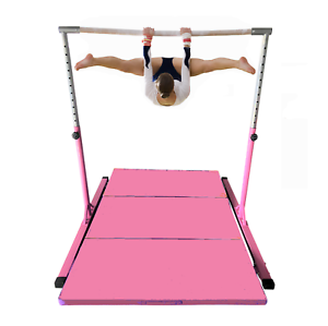 5' Athletic Horizontal Gymnastics Bar Monkey bars PINK + 4'  x 6' Gymnastic Mat.  authentic