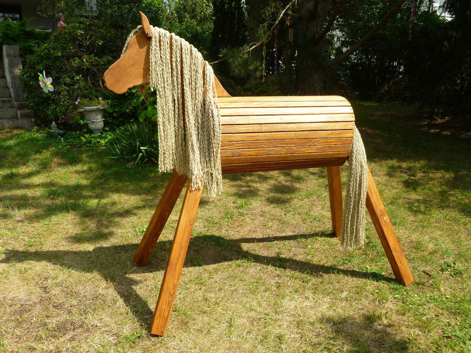 110cm Holzpferd Holzpony Voltigierpferd Spielpferd Pferd Pony wetterfest NEU