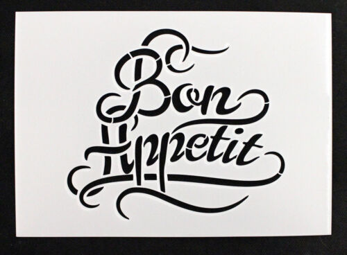ideal for Furniture Reusable Stencil /'Bon Appetit/' Fabrics Vintage Shabby Chic
