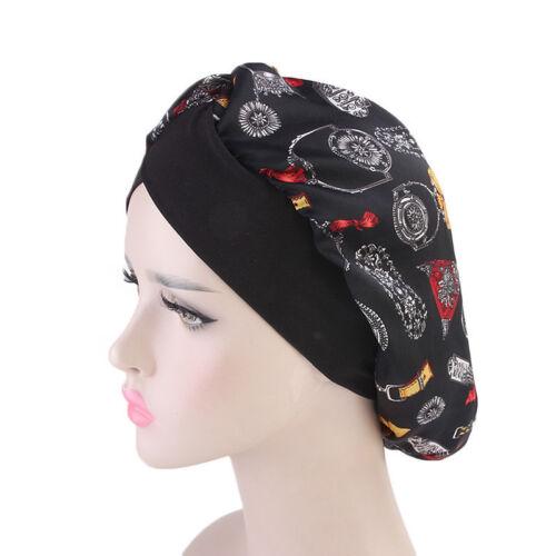 Femmes Satin Bonnet De Sommeil Chapeau élastique ajuster la perte de cheveux Chapeau Imprimé Turban doux Wrap