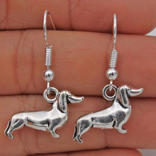 925 Silver Plated Hook -1.4'' Retro Dog Dachshund Women Earrings Jewelry #17