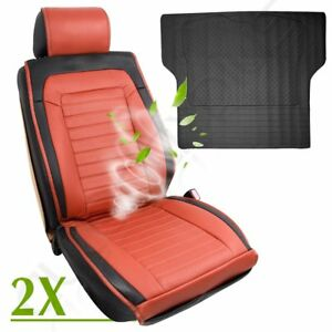 New-Brown-PU-Leather-Universal-2pc-Car-Seat-Cushions-W-Fan-1pc-Trunk-Liner-mat