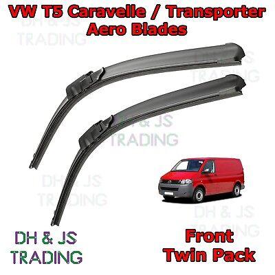 "Fit VW Transporter T5 Front Windscreen 24/"" 24/"" Flat Aero Wiper Blades Twin Set"
