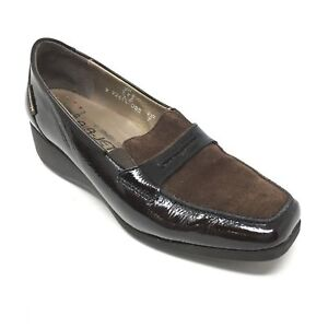 Women-039-s-Mephisto-Loafers-Clogs-Shoes-Size-7M-Brown-Patent-Leather-Wedge-Q5