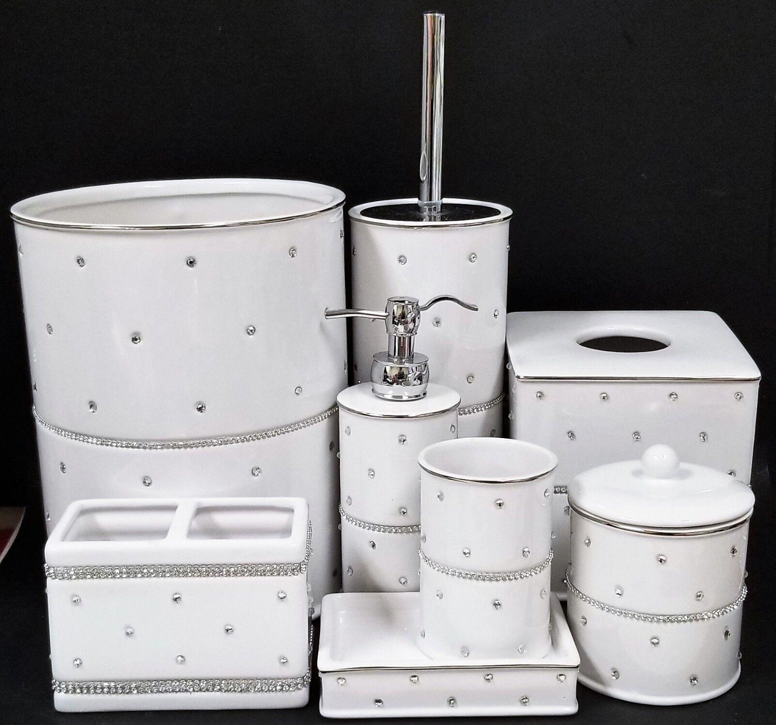 Neu 8 St.Set Weiße Keramik    Silber Kristall Trimmen Strass Seifenspender   Online Kaufen  495238