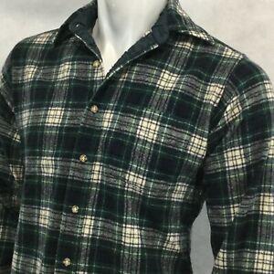 Vtg-Pendleton-Flannel-Sz-M-Virgin-Wool-Green-Blue-White-Tartan-Plaid-USA-Made