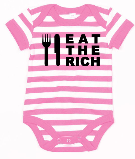 EAT THE RICH Baby-Body pink/weiss gestreift