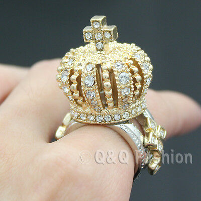 Crown Tiara Cross Finger Ring Gold 3D Crystal Cocktail Cosplay Fancy Dress