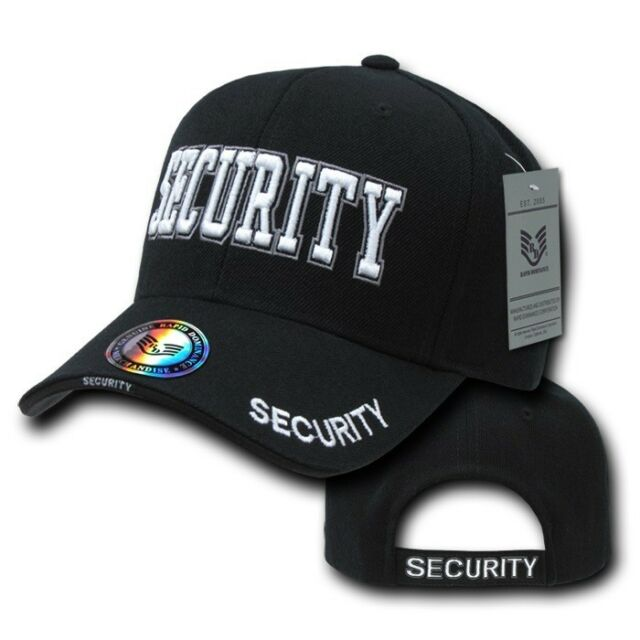 Security Hat Baseball Ball Cap Black Embroidered Adjustable 100/% Cotton