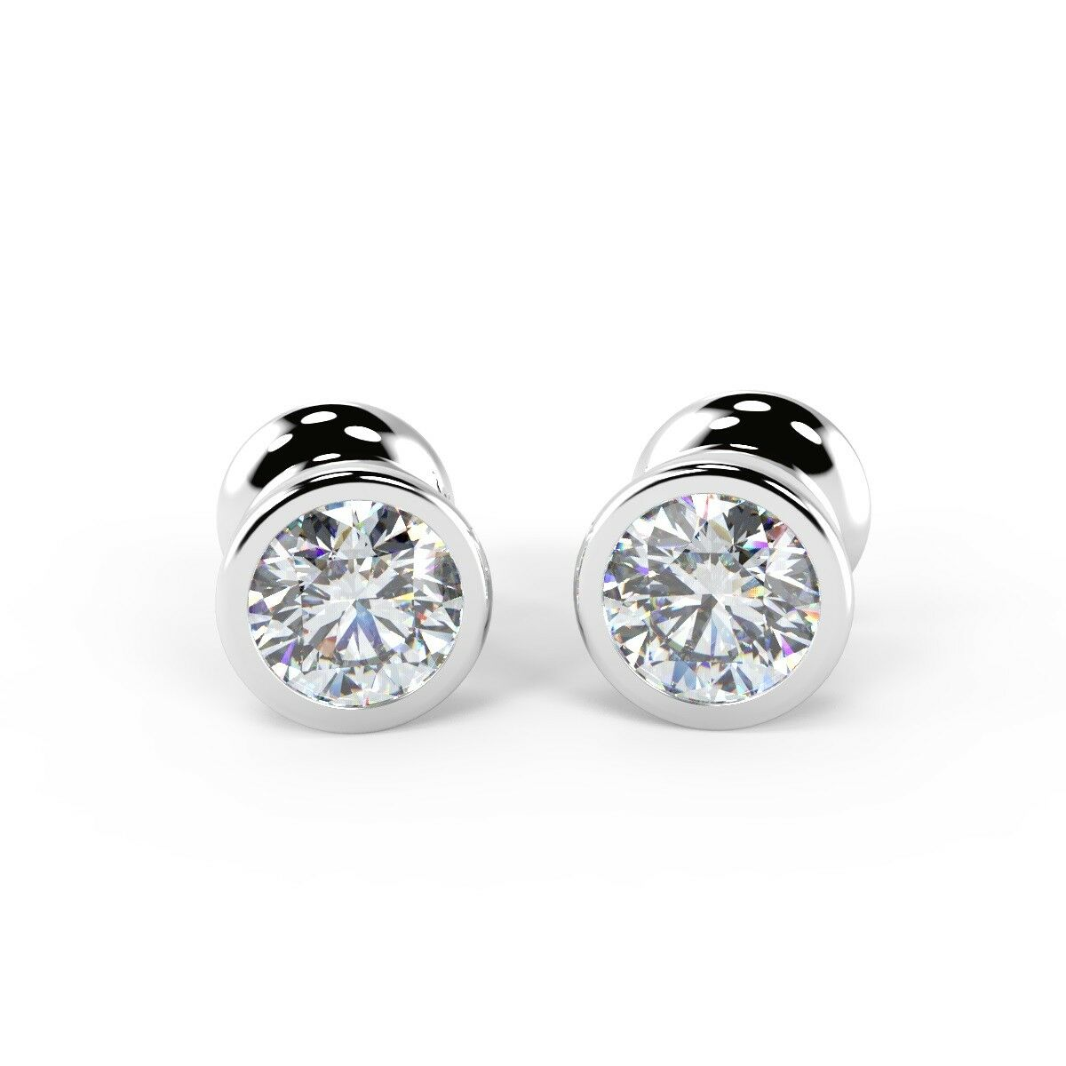 F VS 0.56 Ct Round Diamond Bezel Set Stud Earring, 18K White gold UK Hallmarked