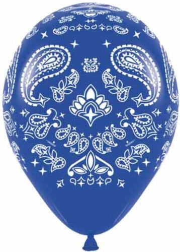 "10 pc 11/"" Red /& Blue Paisley Bandana Latex Balloons Party Decoration Western"