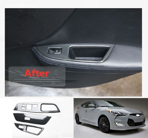 Carbon Fiber Window Lift Panel Switch Cover Trim For Hyundai Veloster 2012-2017