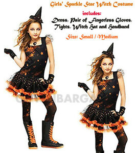 Girls-Orange-Black-Sparkle-Witch-Halloween-Tutu-Costume-S-S-M-Hat-Gloves-Tights